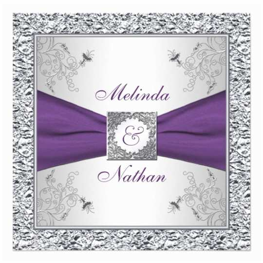 Lilac and Silver Wedding Invitations Printed Ribbon Purple Silver Wedding Invitation Ii