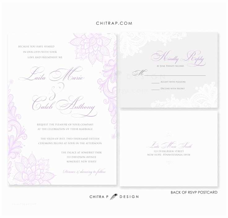 Lilac and Silver Wedding Invitations Purple Wedding Invitations with Rsvp Cards Printed Lace