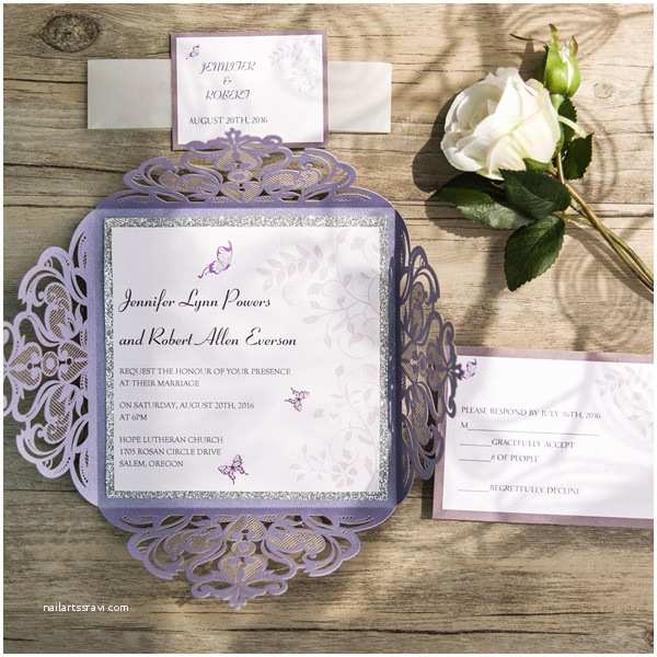 Lilac and Silver Wedding Invitations Romantic butterfly Lavender Silver Glittery Laser Cut