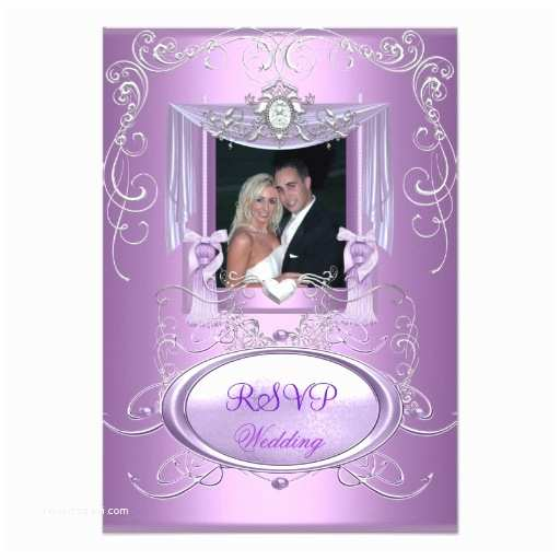 Lilac and Silver Wedding Invitations Rsvp Wedding Lilac Purple Pink Silver Elegant 3 5x5 Paper