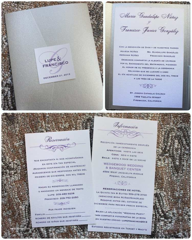 Lilac and Silver Wedding Invitations Silver Eggplant & Lavender Swirls & Scrolls Spanish