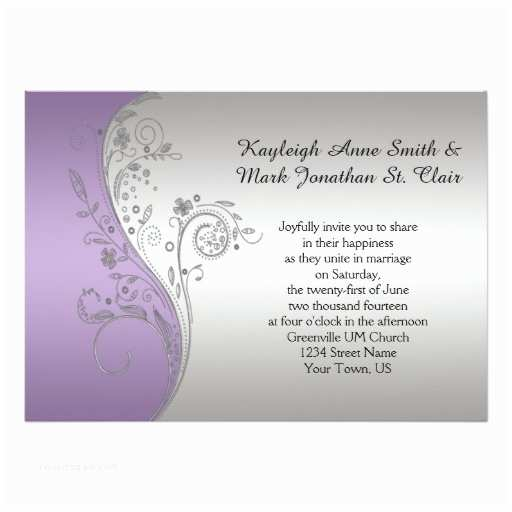 Lilac and Silver Wedding Invitations Vintage Lavender Purple Silver Wedding Invitation