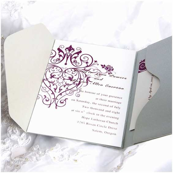 Lilac and Silver Wedding Invitations Vintage Purple Chandelier Grey Pocket Wedding Invitation