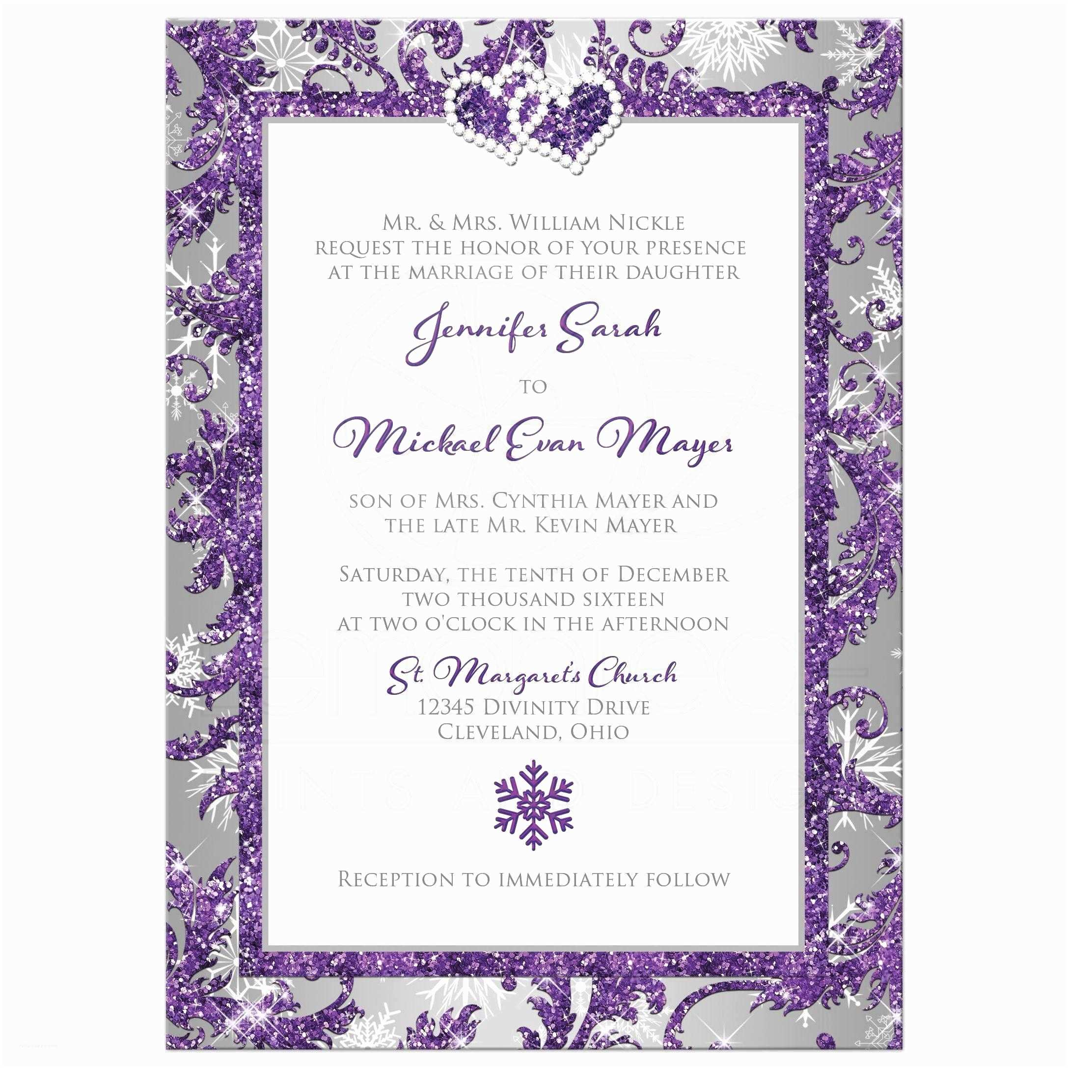 Lilac and Silver Wedding Invitations Winter Wonderland Photo Wedding Invitation