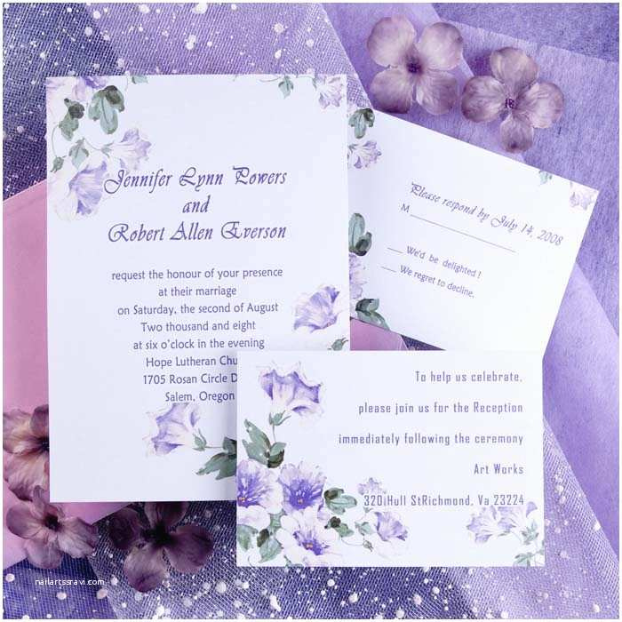 Lilac Wedding Invitations Country Style Purple Morning Glory Spring Wedding