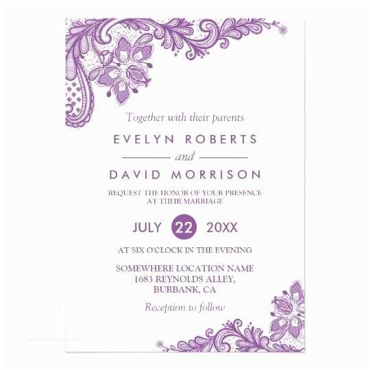 Lilac Wedding Invitations Elegant Lace Lavender Purple White formal Wedding Card