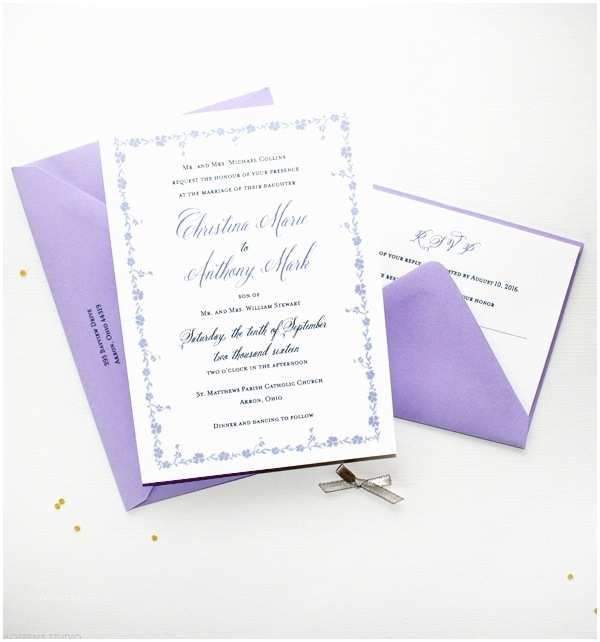 Lilac Wedding Invitations Lavender and White Wedding Invitations Cobypic
