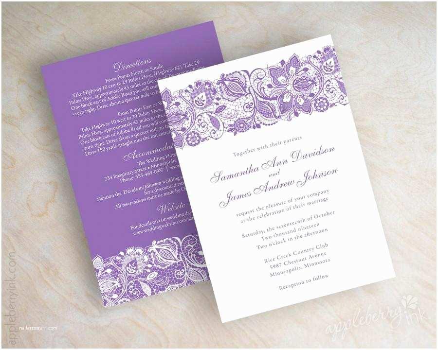 Lilac Wedding Invitations Lavender Lace Wedding Invitations Purple Lace Wedding