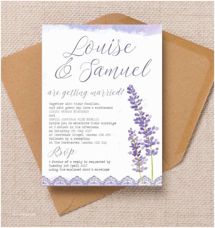 Lilac Wedding Invitations Lilac & Lavender Wedding Invitation From £1 00 Each
