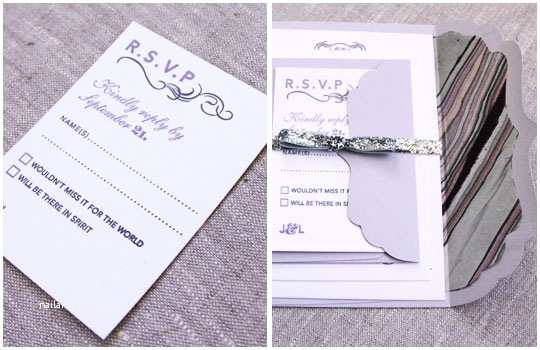 lilac grey letterpress wedding invitations