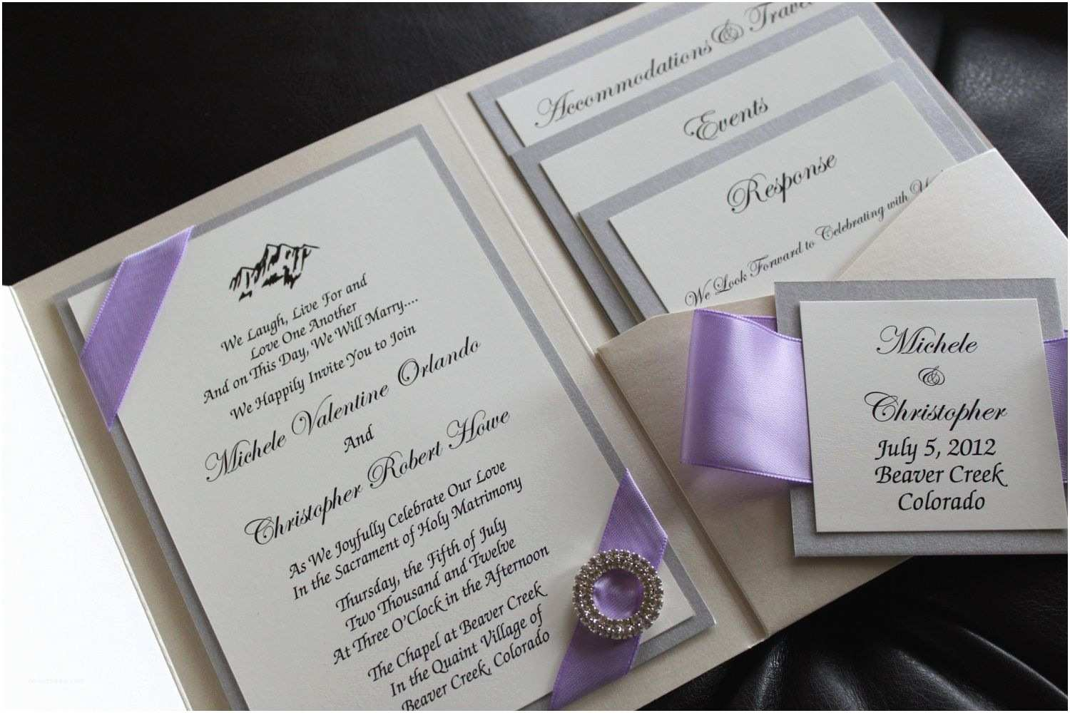 Lilac Wedding Invitations Opulence Pocket Wedding Invitation In Lilac and Silver
