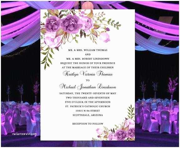 Lilac Wedding Invitations Printable Wedding Invitation Romantic Blossoms Make Your