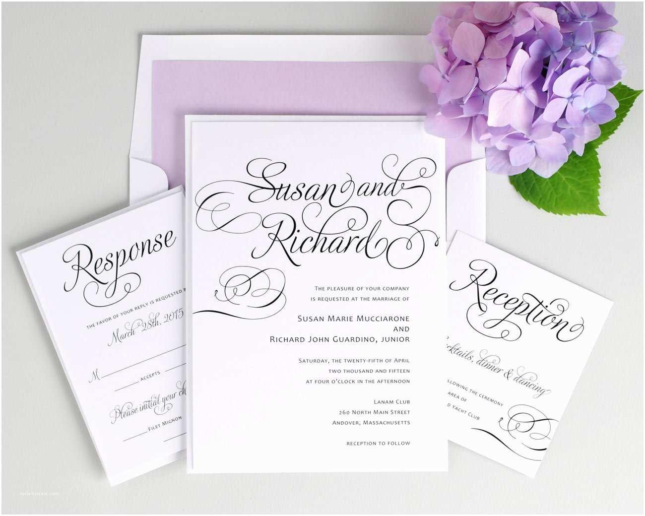 Lilac Wedding Invitations Script Wedding Invitations In Purple – Wedding Invitations