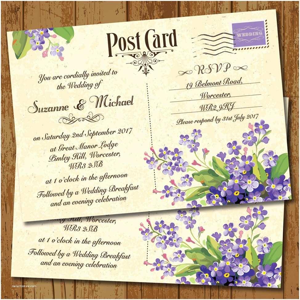 Lilac Wedding Invitations Vintage Postcard Lilac for Me Nots Wedding Invitation