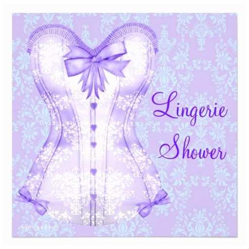 Lingerie Bridal Shower Invitations Damask Purple Corset Lingerie Bridal Shower Custom Invite