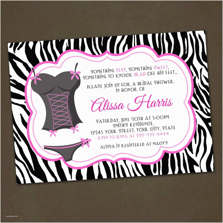 Lingerie Bridal Shower Invitations Lingerie Zebra Print Bridal Shower Invitations Girl