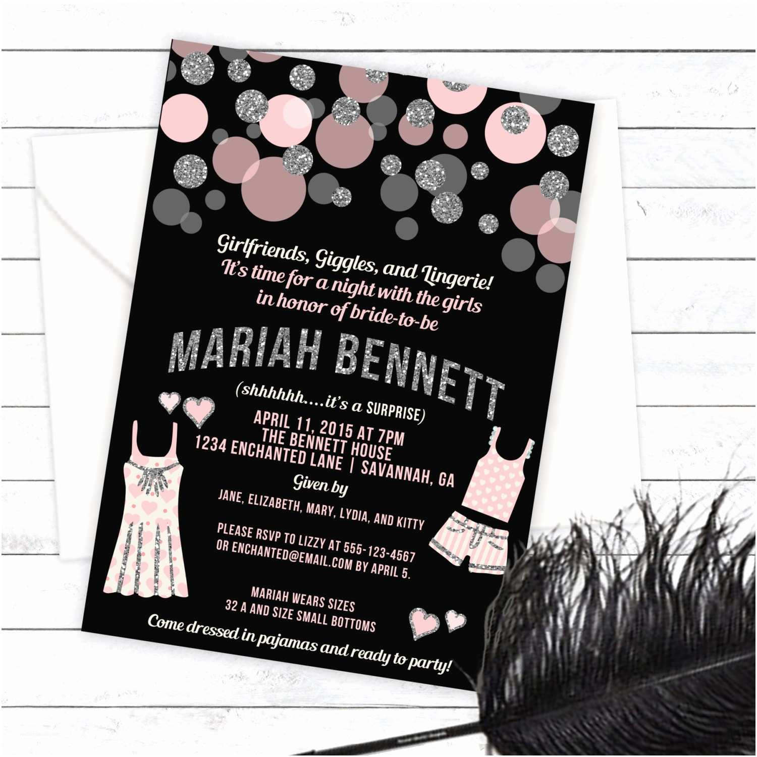 Lingerie Party Invitations Pajama Party Lingerie Party Invitation Pj Party Linger