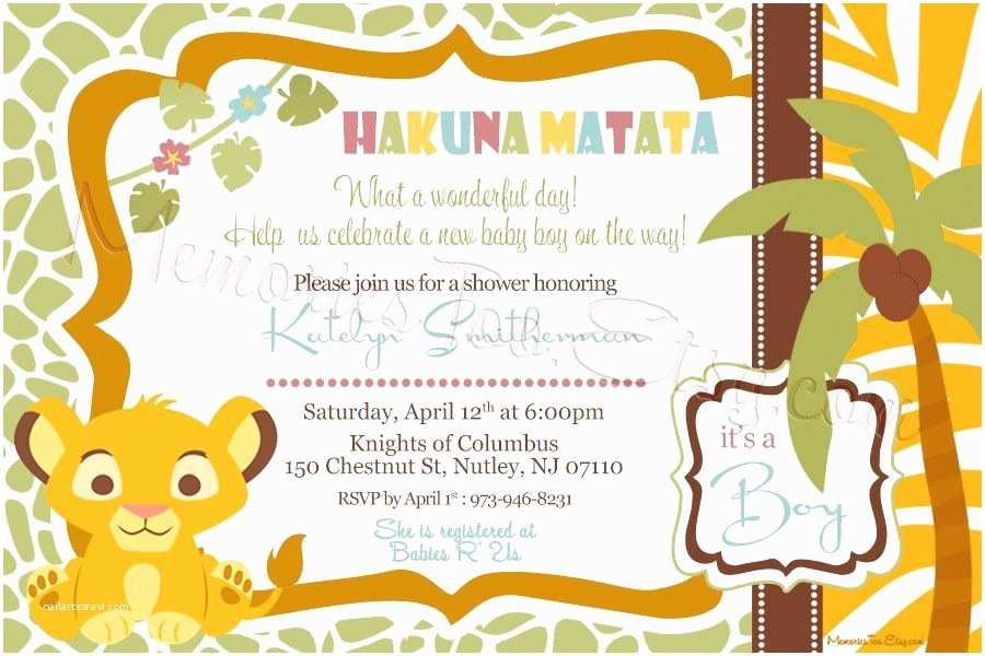 Lion King Baby Shower Invitations Lion King Baby Shower Invitations