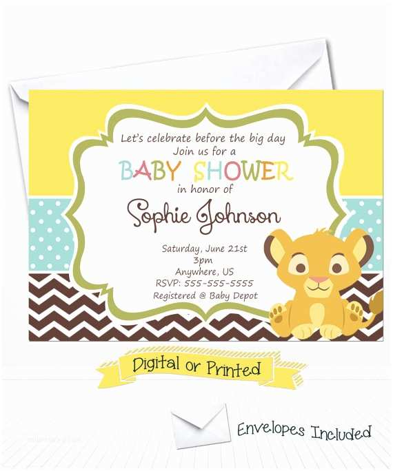 Lion King Baby Shower Invitations Simba Lion King Baby Shower