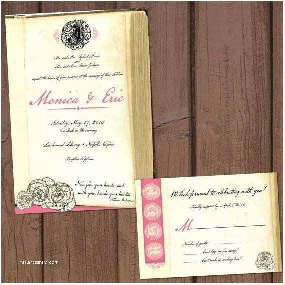 Literary themed Wedding Invitations Book Literary Wedding Invitation with Response Card