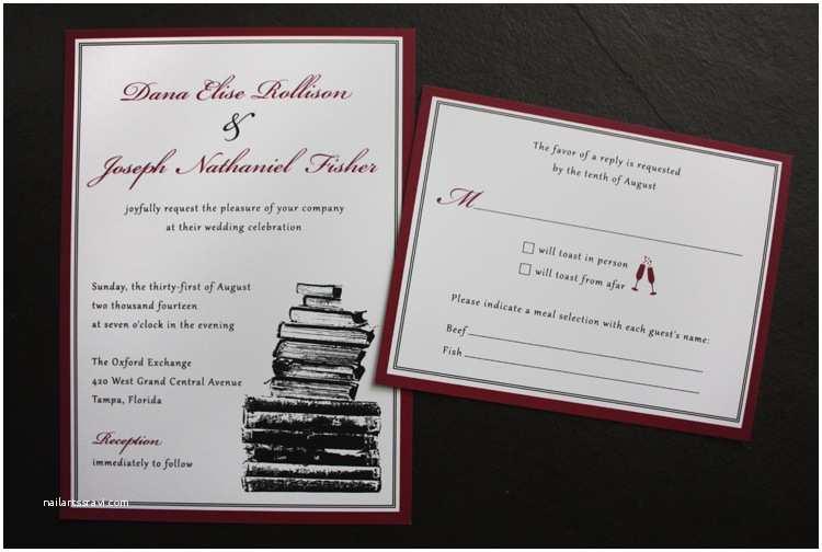 Literary themed Wedding Invitations Burgundy Black & White Vintage Book themed Wedding