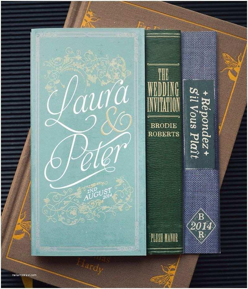 Literary themed Wedding Invitations Folding Book Invitations for A Literary themed Wedding