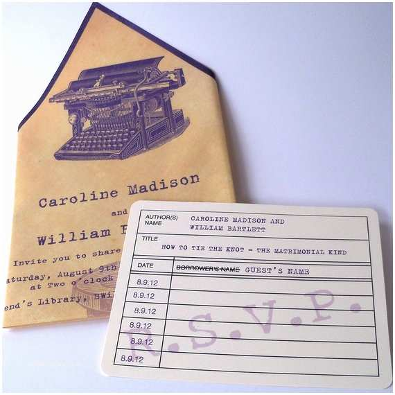 Literary themed Wedding Invitations Items Similar to Literary Wedding Invitations Printed
