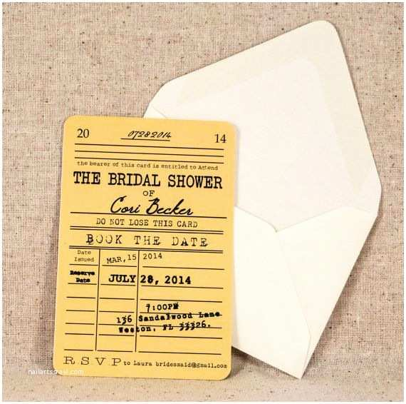 Literary themed Wedding Invitations Library Card Bridal Shower Invitation Vintage Literary