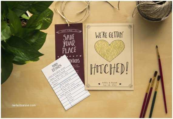 Literary themed Wedding Invitations Literary Wedding Invitation Set Customizable Library