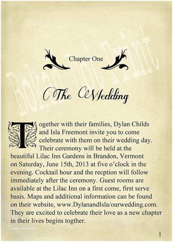 Literary themed Wedding Invitations Novel Idea Literary Wedding Invitation Set Print