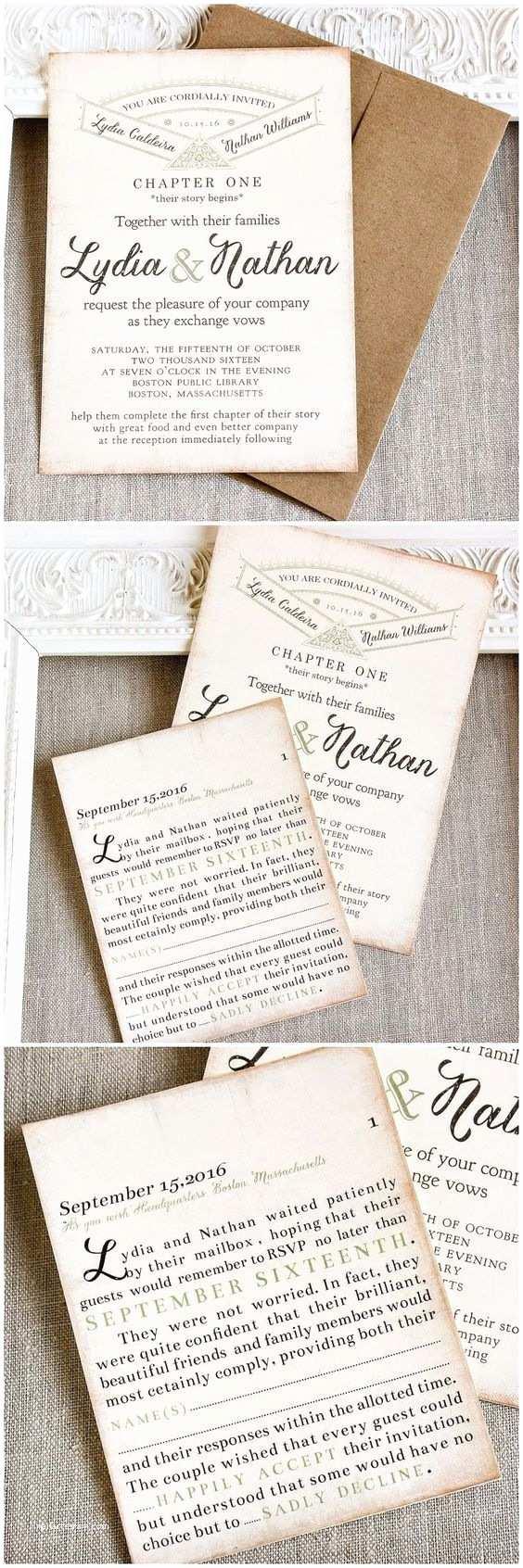 Literary themed Wedding Invitations Vintage Story Book Wedding Invitation Literary Wedding