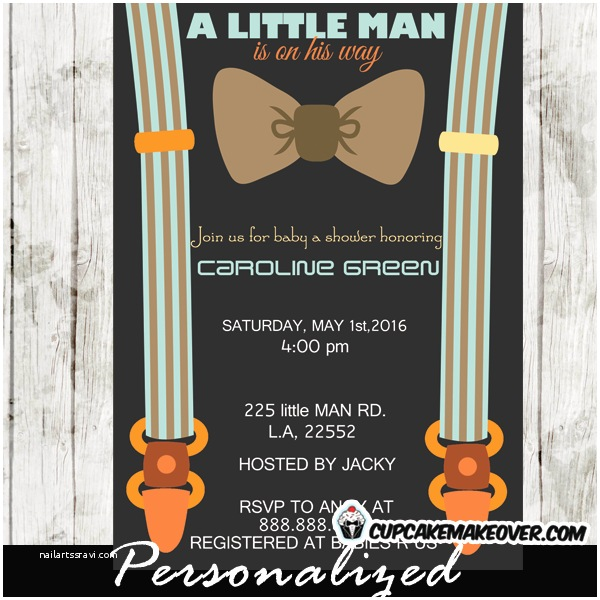 Little Man Baby Shower Invitations Brown Little Man Bow Tie Baby Shower Invitations