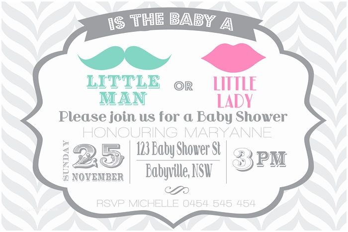 Little Man Baby Shower Invitations Diy Mustache Lips Little Man or Lady Baby Shower