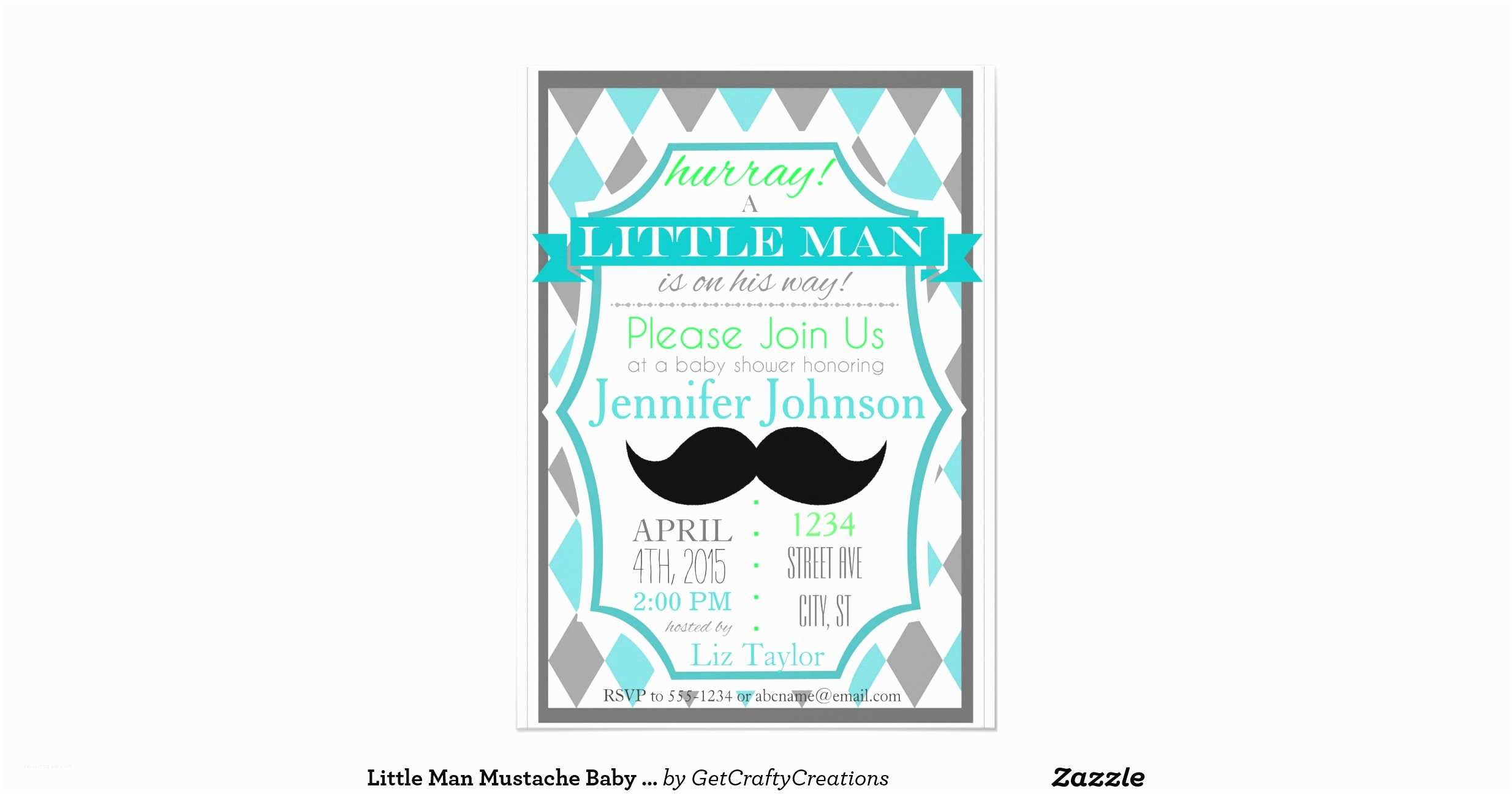 Little Man Baby Shower Invitations Little Man Mustache Baby Shower Invitations
