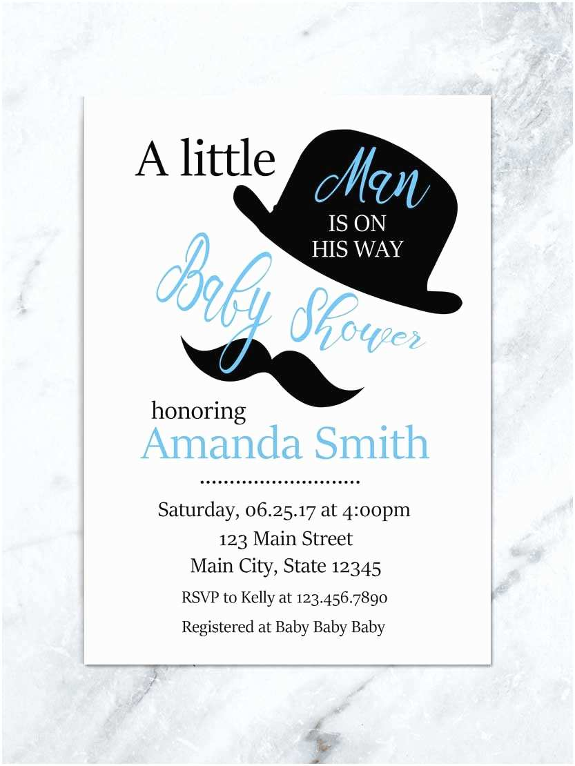 Little Man Baby Shower Invitations Mustache Baby Shower Invitation Little Man is On His Way