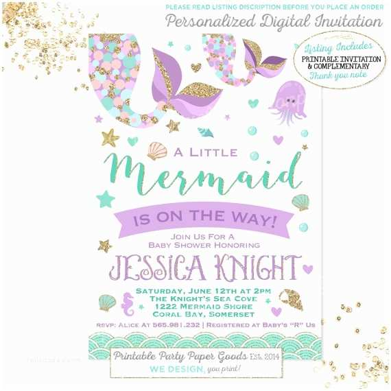 mermaid baby shower invitation little