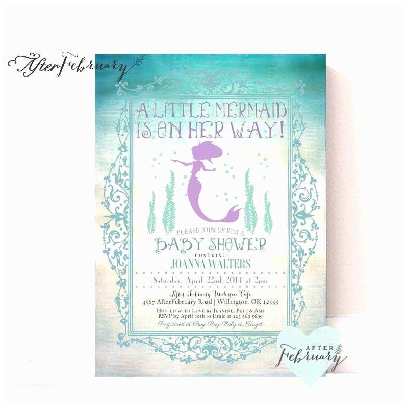 Little Mermaid Baby Shower Invitations Mermaid Baby Shower Invitation Little Mermaid by