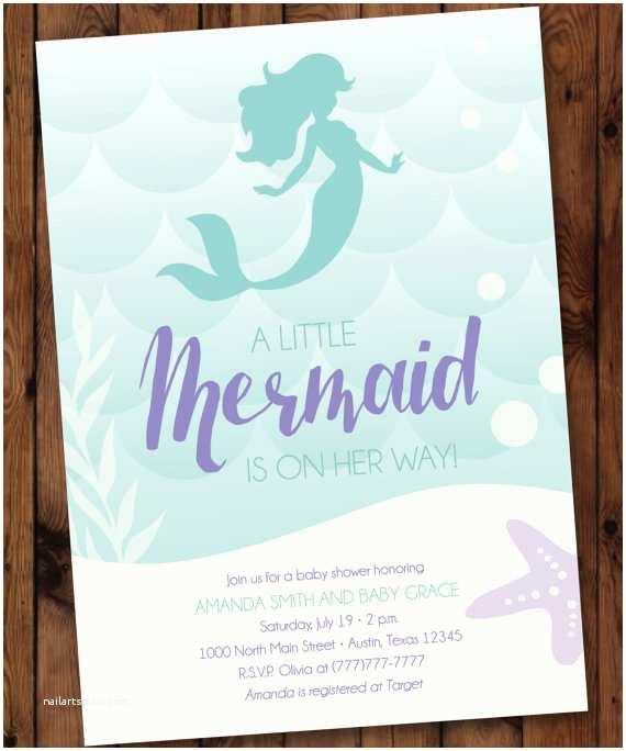 Little Mermaid Baby Shower Invitations Under the Sea Baby Shower Mermaid Baby Shower Invitation