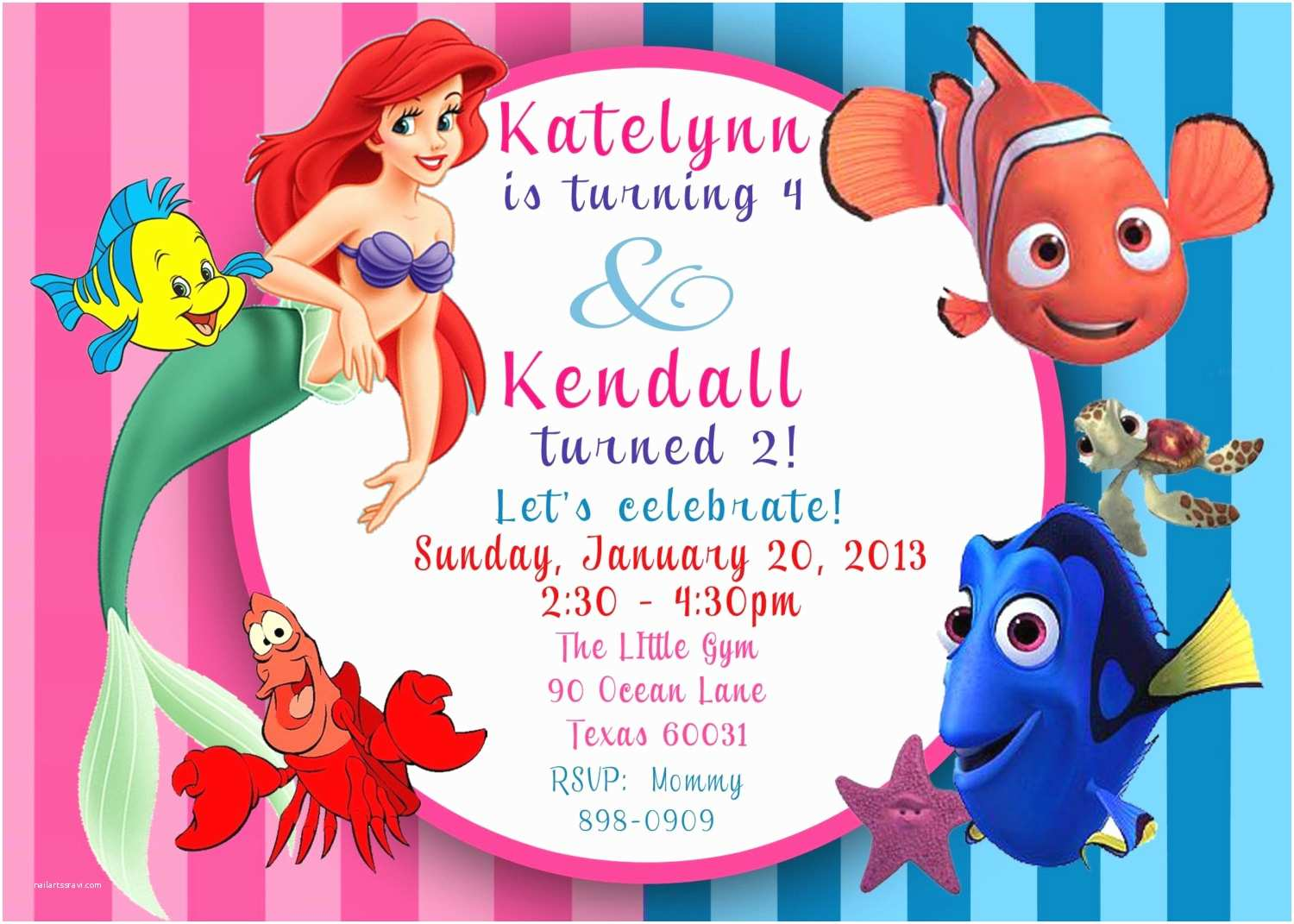 Little Mermaid Birthday Invitations Free Printable