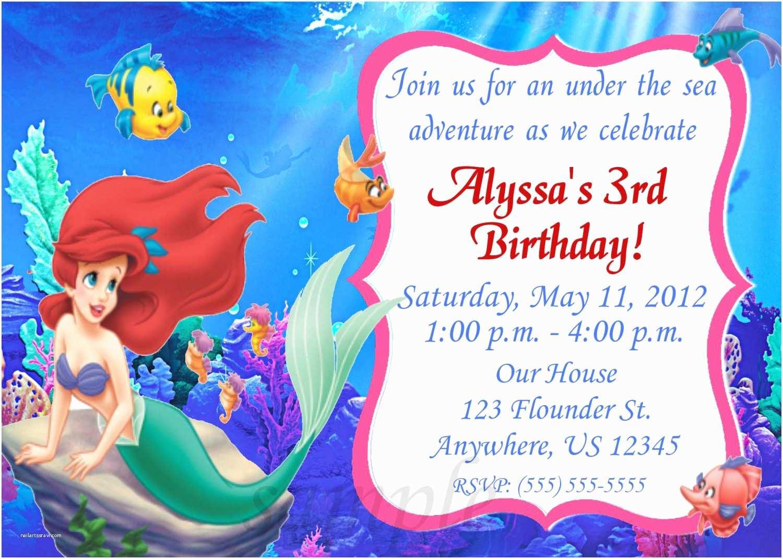 Little Mermaid Birthday Invitations Little Mermaid Invitations