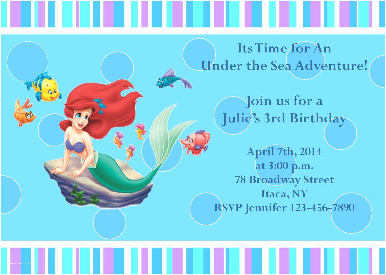Little Mermaid Birthday Invitations Little Mermaid Party Invitations Mickey Mouse