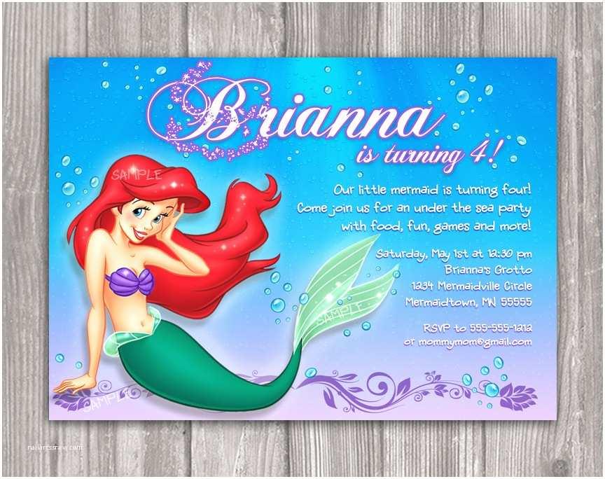 Little Mermaid Birthday Invitations Mermaid Birthday Party Invitations
