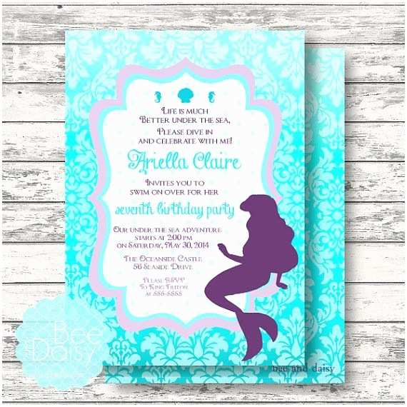 invitations ariellittle mermaid