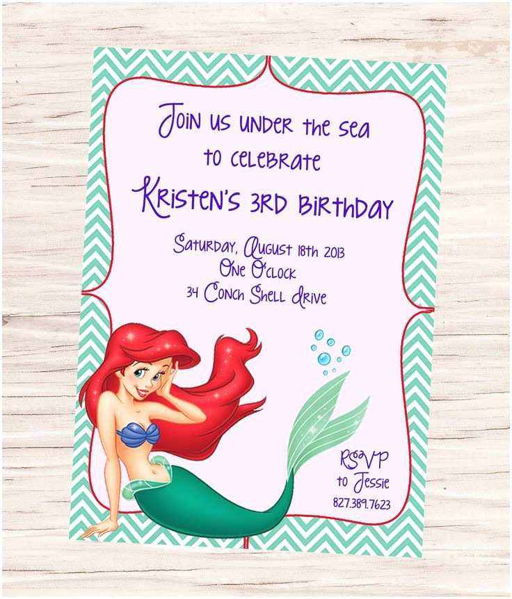 Little Mermaid Party Invitations Ariel Little Mermaid Birthday Invitation