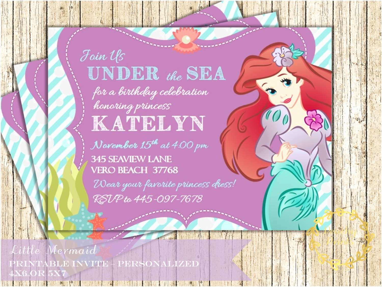Little Mermaid Party Invitations Ariel Little Mermaid Birthday Invitation Under by