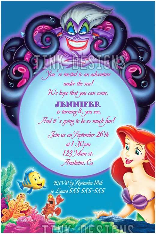 Little Mermaid Party Invitations Invitations Little Mermaid Ariel Birthday Party Favors