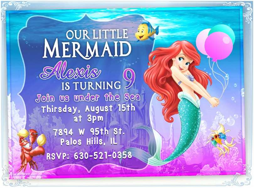 Little Mermaid Party Invitations Little Mermaid Ariel Birthday Invitation Card Invite Birthday
