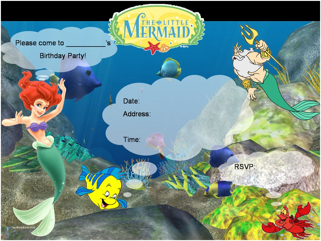 Little Mermaid Party Invitations Little Mermaid Birthday Invitations Free Printables