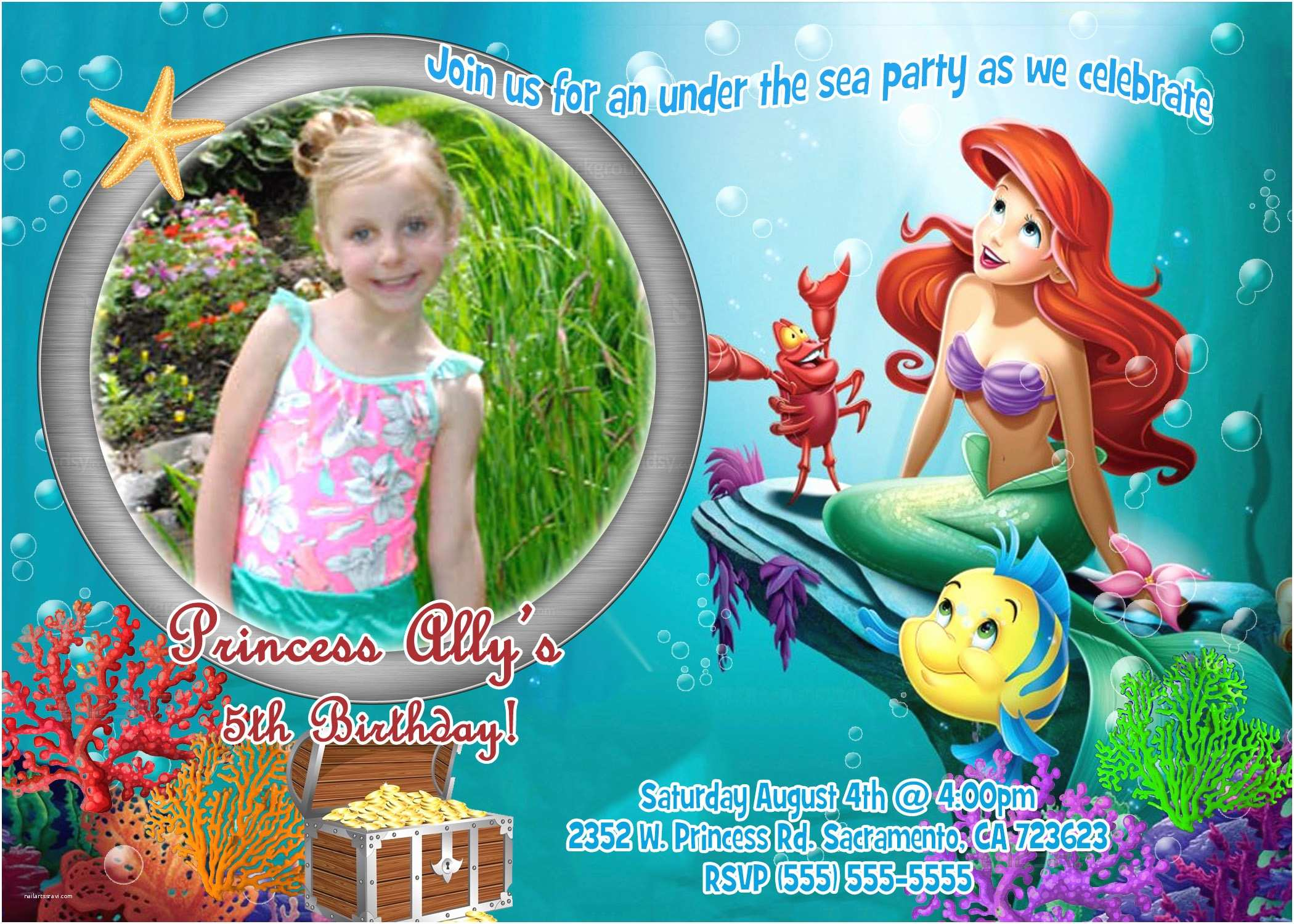 Little Mermaid Party Invitations Little Mermaid Birthday Invitations