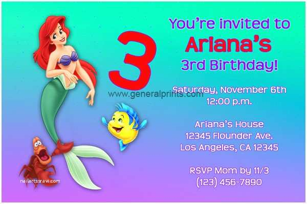 Little Mermaid Party Invitations Little Mermaid Invitations Ariel